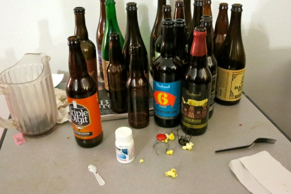 The aftermath of Airwaves' bottle share.